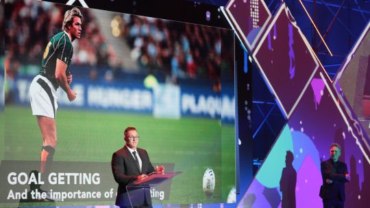 Springbok rugby legend Percy Montgomery tells business leaders a thing or two about achieving excellence